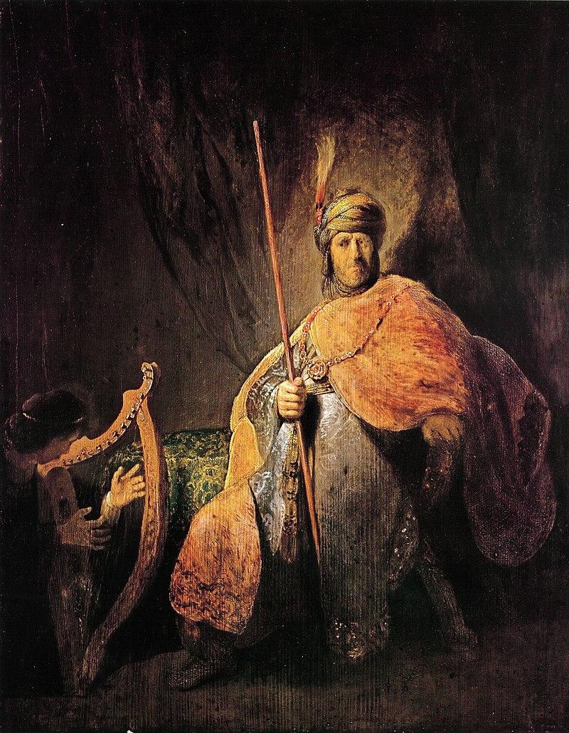 Dawid grający Saulowi na harfie.  Rembrandt